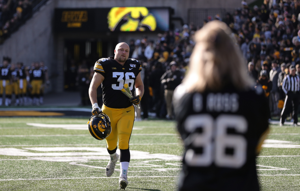 Iowa Hawkeyes fullback Brady Ross (36) during Senior Day festivities before their game against the Illinois Fighting Illini Saturday, November 23, 2019 at Kinnick Stadium. (Brian Ray/hawkeyesports.com)