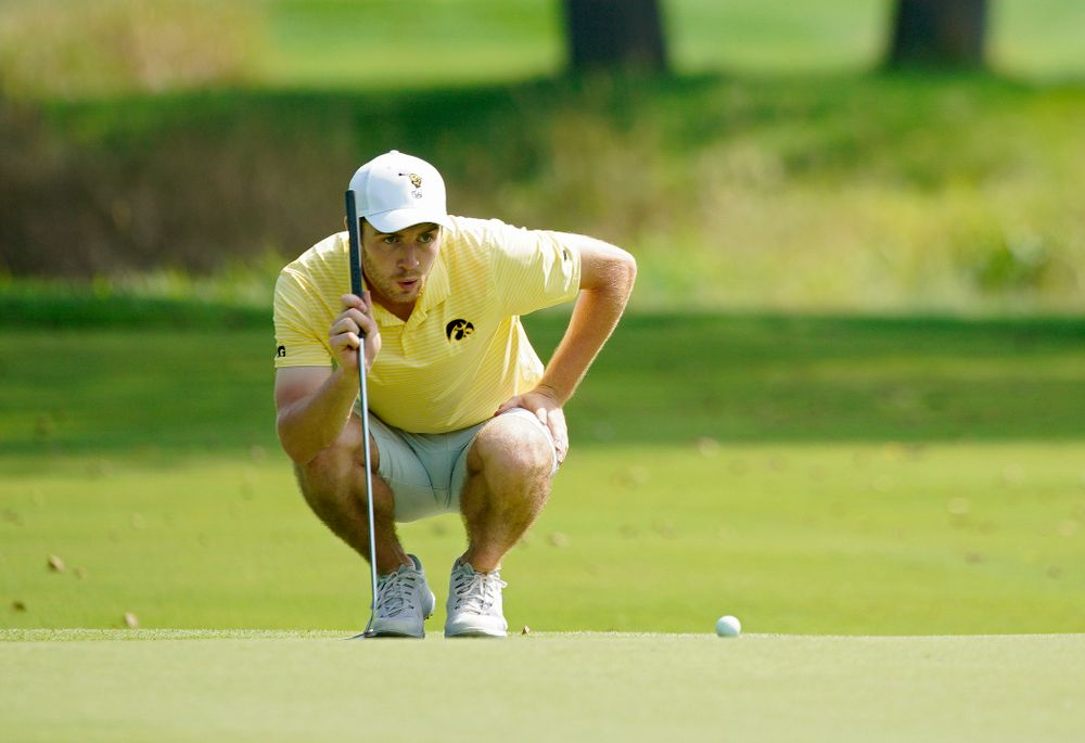Iowa's Jake Rowe lines up a putt during the third day of the Golfweek Conference Challenge at the Cedar Rapids Country Club in Cedar Rapids on Tuesday, Sep 17, 2019. (Stephen Mally/hawkeyesports.com)