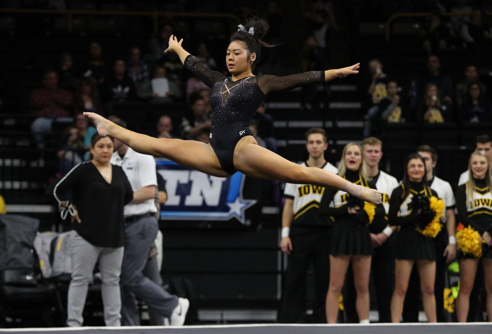 Clair Kaji competes on the floor against Illinois Saturday, February 16, 2019 at Carver-Hawkeye Arena. (Brian Ray/hawkeyesports.com)