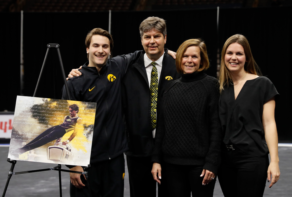 Iowa's Elijah Parsells and his family during senior day activities