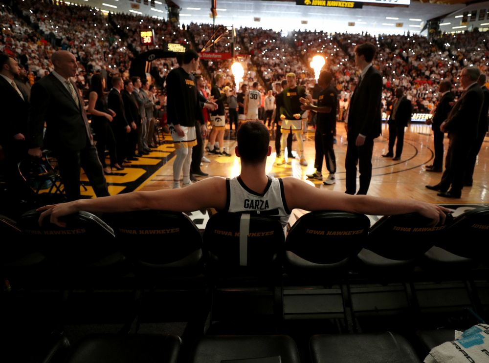 Iowa Hawkeyes forward Luka Garza (55) waits to be introduced before their game against the Illinois Fighting Illini Sunday, February 2, 2020 at Carver-Hawkeye Arena. (Brian Ray/hawkeyesports.com)