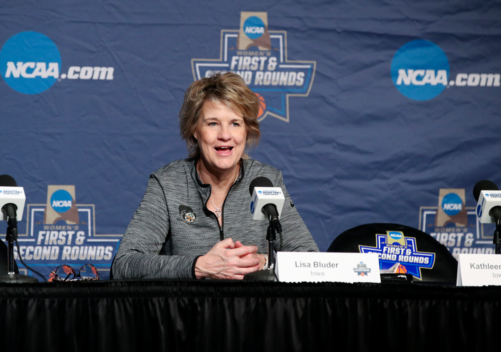 Iowa Hawkeyes head coach Lisa Bluder answers a question during media availability before their next game in the 2019 NCAA Women's Basketball Tournament at Carver Hawkeye Arena in Iowa City on Saturday, Mar. 23, 2019. (Stephen Mally for hawkeyesports.com)