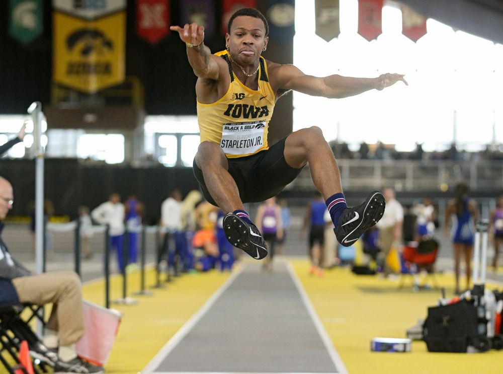 Iowa's Deandre Stapleton Jr. competes in the men's long jump event at the Black and Gold Invite at the Recreation Building in Iowa City on Saturday, February 1, 2020. (Stephen Mally/hawkeyesports.com)