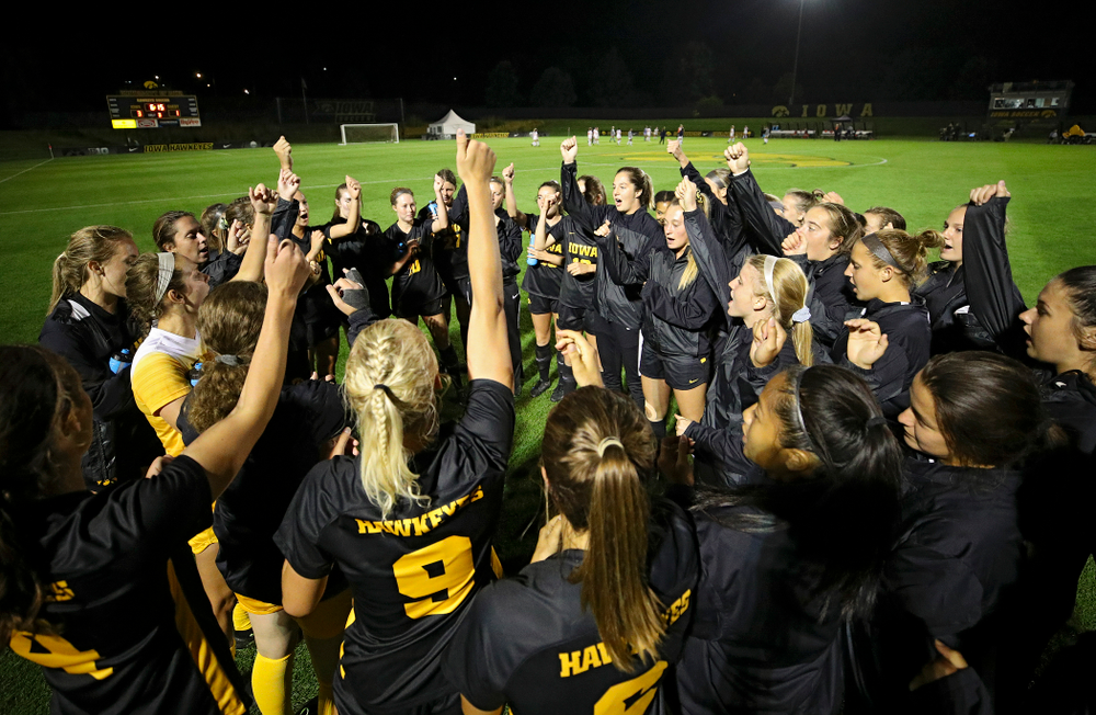 The Iowa Hawkeyes sing the fight song after their match against Illinois at the Iowa Soccer Complex in Iowa City on Thursday, Sep 26, 2019. (Stephen Mally/hawkeyesports.com)