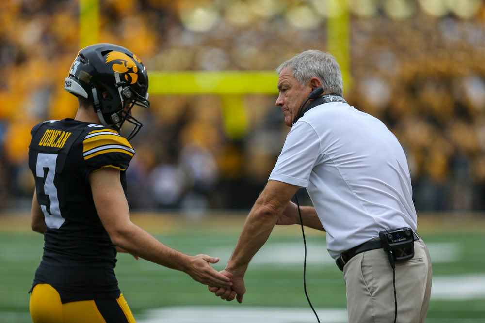 Iowa Hawkeyes place kicker Keith Duncan (3) Iowa Hawkeyes head coach Kirk Ferentz against Middle Tennessee Saturday, September 28, 2019 at Kinnick Stadium. (Lily Smith/hawkeyesports.com)