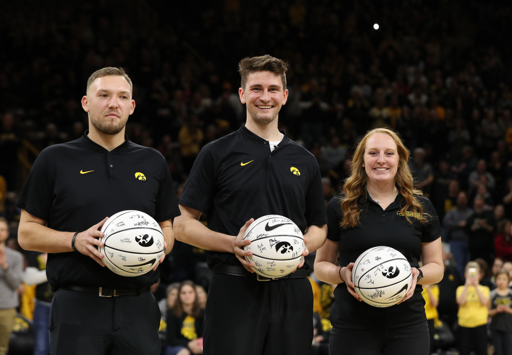 The Iowa Women's Basketball Managers during senior day ceremonies following their game against the Northwestern Wildcats Sunday, March 3, 2019 at Carver-Hawkeye Arena. (Brian Ray/hawkeyesports.com)