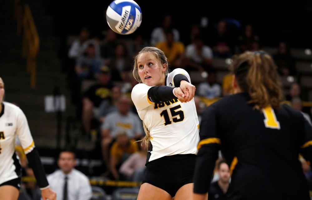 Iowa Hawkeyes defensive specialist Maddie Slagle (15) against Eastern Illinois Sunday, September 9, 2018 at Carver-Hawkeye Arena. (Brian Ray/hawkeyesports.com)