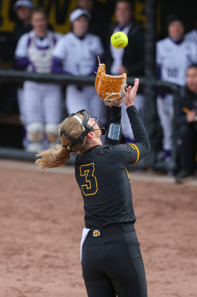 Iowa pitcher Allison Doocy (3) at game 2 vs Northwestern on Saturday, March 30, 2019 at Bob Pearl Field. (Lily Smith/hawkeyesports.com)