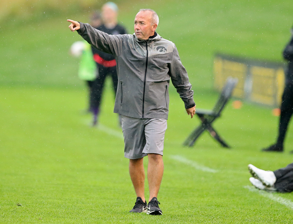 Iowa head coach Dave DiIanni directs his players during the second half of their match at the Iowa Soccer Complex in Iowa City on Sunday, Sep 29, 2019. (Stephen Mally/hawkeyesports.com)