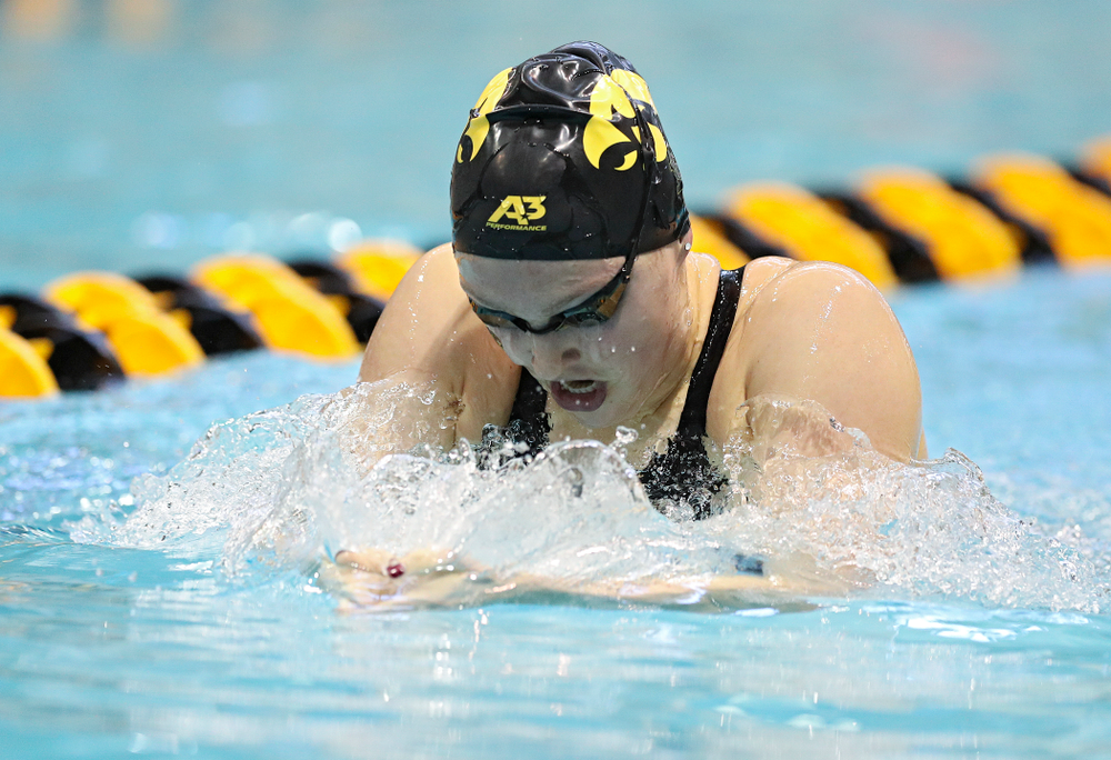 Iowa's Emilia Sansome swims the women's 400 yard individual medley preliminary event during the 2020 Women's Big Ten Swimming and Diving Championships at the Campus Recreation and Wellness Center in Iowa City on Friday, February 21, 2020. (Stephen Mally/hawkeyesports.com)