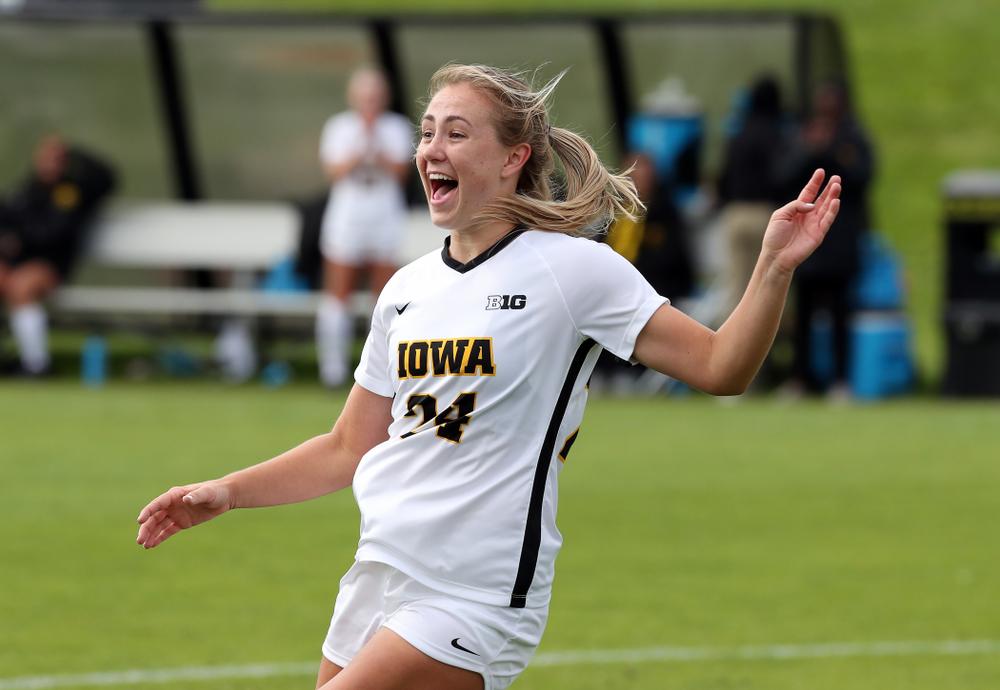 Iowa Hawkeyes defender Sara Wheaton (24) celebrates a goal against the Maryland Terrapins Sunday, October 13, 2019 on senior day. (Brian Ray/hawkeyesports.com)