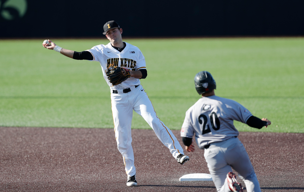 Iowa Hawkeyes infielder Kyle Crowl (23) against Northern Illinois Tuesday, April 17, 2018 at Duane Banks Field. (Brian Ray/hawkeyesports.com)