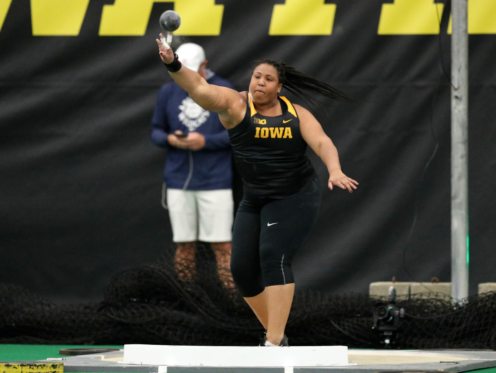 Iowa's Ianna Roach throws in the women's shot put event during the Larry Wieczorek Invitational at the Hawkeye Tennis and Recreation Complex in Iowa City on Friday, January 17, 2020. (Stephen Mally/hawkeyesports.com)