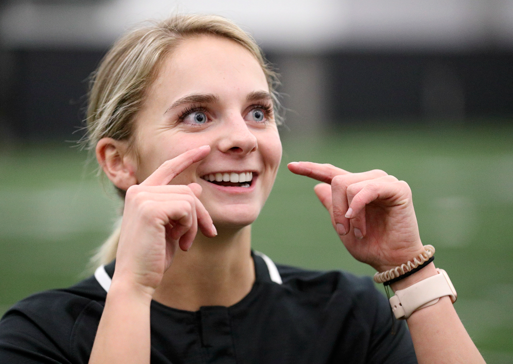 Iowa infielder Taylor Ryan (28) answers questions during Iowa Softball Media Day at the Hawkeye Tennis and Recreation Complex in Iowa City on Thursday, January 30, 2020. (Stephen Mally/hawkeyesports.com)