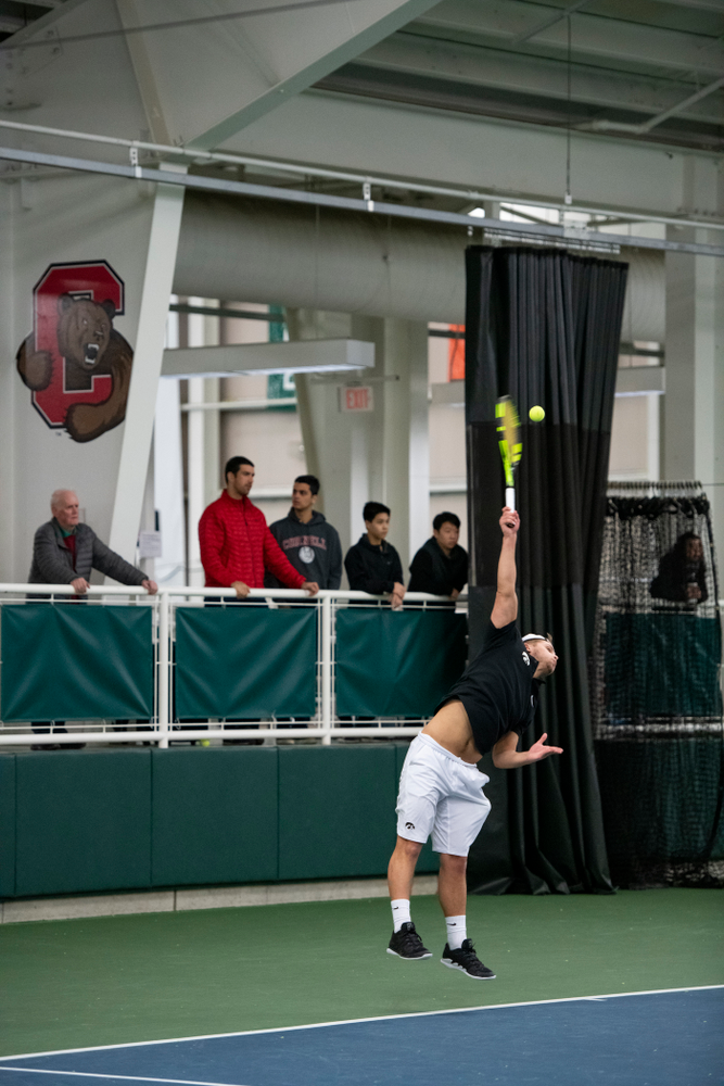 The Iowa men's tennis team competes against Cornell in The Rise Tennis Center in Ithaca, NY on Sunday, Feb. 24, 2019.