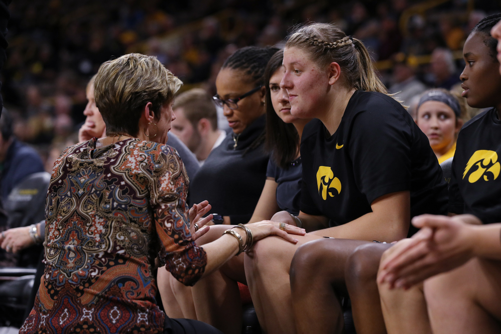 Iowa Hawkeyes forward/center Monika Czinano (25) and associate head coach Jan Jensen against Dakota Wesleyan University Tuesday, November 6, 2018 at Carver-Hawkeye Arena. (Brian Ray/hawkeyesports.com)