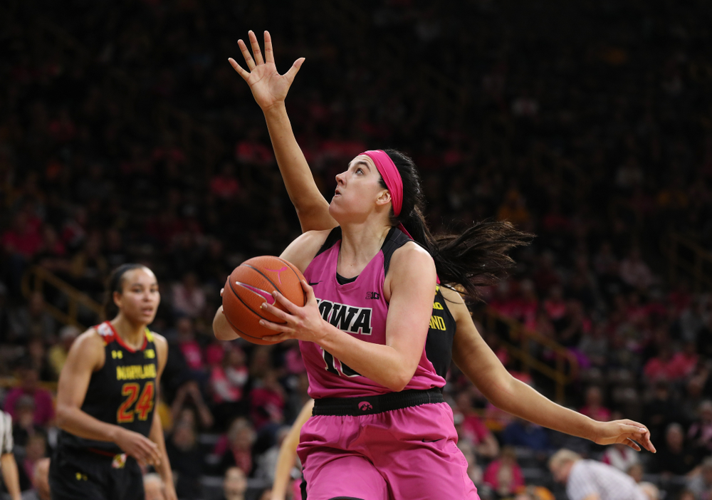 Iowa Hawkeyes forward Megan Gustafson (10) against the seventh ranked Maryland Terrapins Sunday, February 17, 2019 at Carver-Hawkeye Arena. (Brian Ray/hawkeyesports.com)