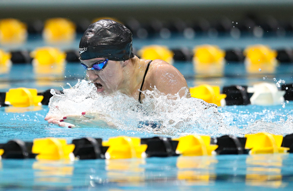 Iowa's Sage Ohlensehlen swims the breaststroke section in the women's 400 yard medley relay event during their meet at the Campus Recreation and Wellness Center in Iowa City on Friday, February 7, 2020. (Stephen Mally/hawkeyesports.com)