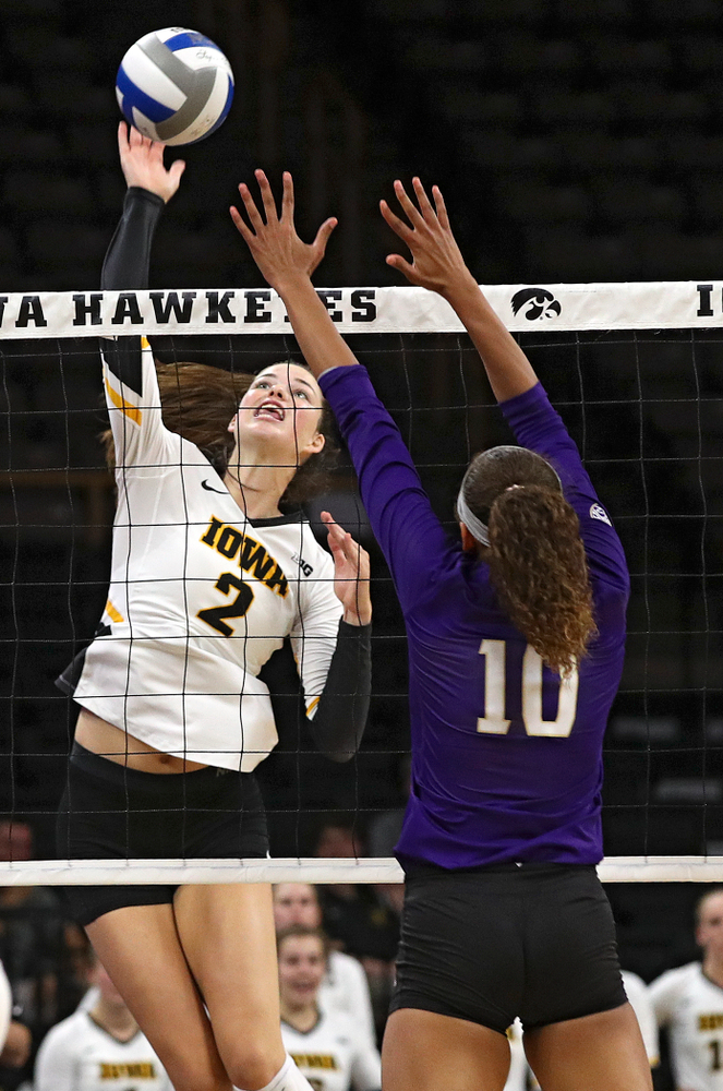 Iowa's Courtney Buzzerio (2) goes up for a kill during their Big Ten/Pac-12 Challenge match at Carver-Hawkeye Arena in Iowa City on Saturday, Sep 7, 2019. (Stephen Mally/hawkeyesports.com)