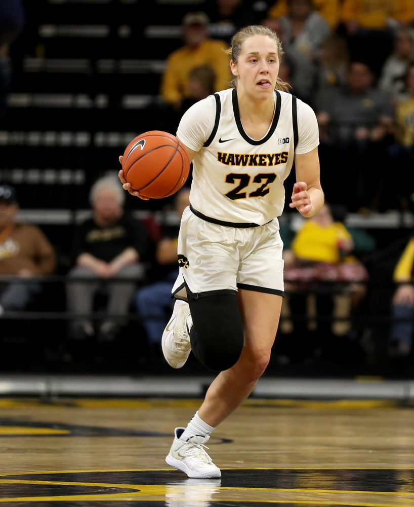Iowa Hawkeyes guard Kathleen Doyle (22) against Penn State Saturday, February 22, 2020 at Carver-Hawkeye Arena. (Brian Ray/hawkeyesports.com)