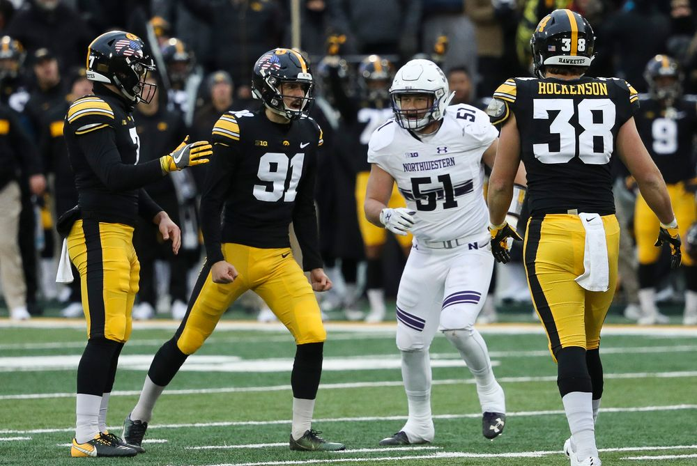 Iowa Hawkeyes placekicker Miguel Recinos (91) reacts after making a field goal during a game against Northwestern at Kinnick Stadium on November 10, 2018. (Tork Mason/hawkeyesports.com)