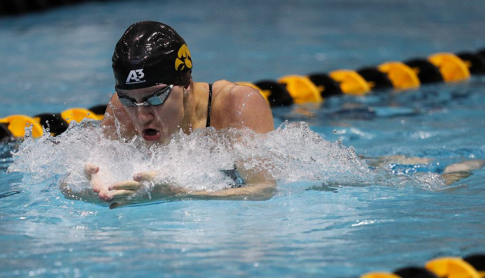 Iowa's Sage Ohlensehlen competes in the 400-yard medley relay during a meet against Michigan and Denver at the Campus Recreation and Wellness Center on November 3, 2018. (Tork Mason/hawkeyesports.com)