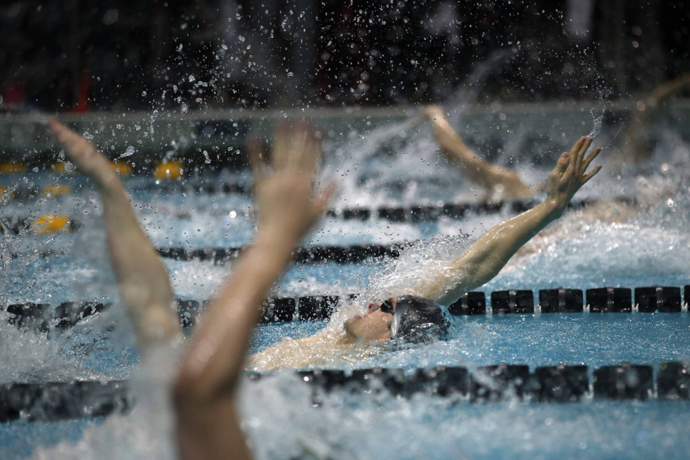 Iowa's Kenneth Meade at the 100-yard backstroke race  Friday, March 1, 2019 at the Campus Recreation and Wellness Center. (Lily Smith/hawkeyesports.com)