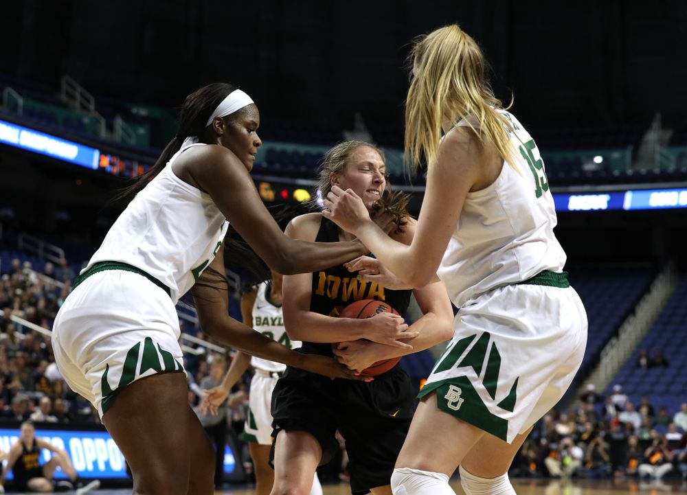 Iowa Hawkeyes forward Amanda Ollinger (43) against the Baylor Lady Bears in the regional final of the 2019 NCAA Women's College Basketball Tournament Monday, April 1, 2019 at Greensboro Coliseum in Greensboro, NC.(Brian Ray/hawkeyesports.com)