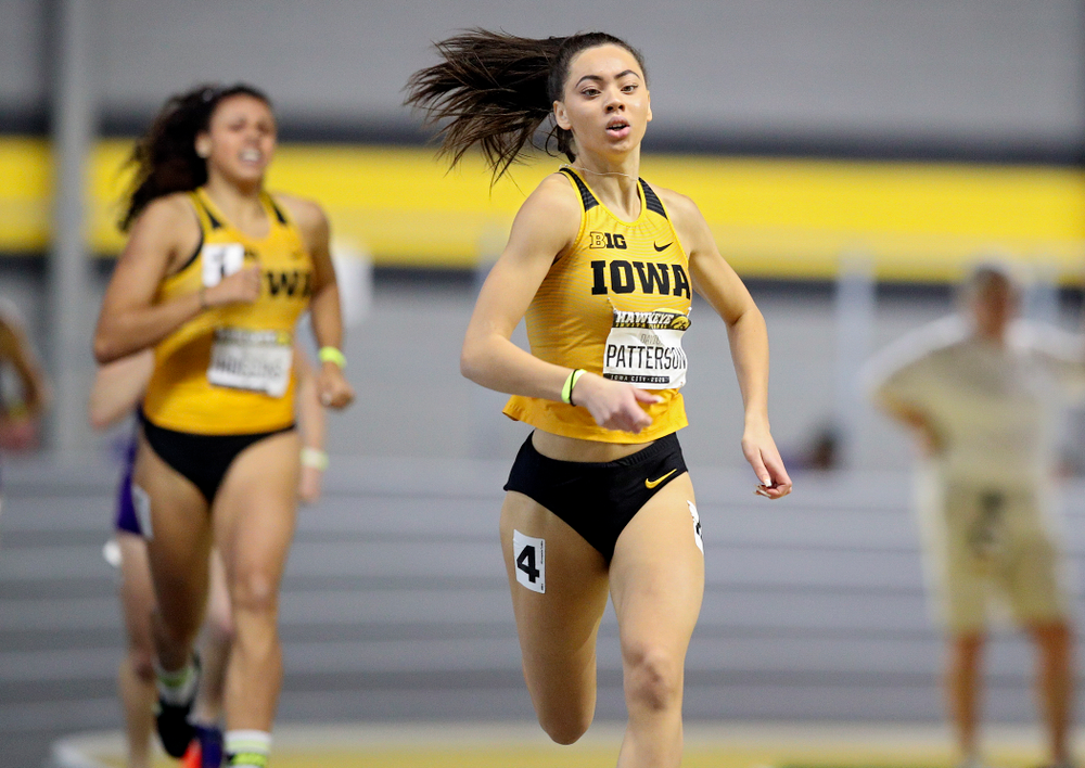 Iowa's Davicia Patterson runs the women's 600 meter run event during the Hawkeye Invitational at the Recreation Building in Iowa City on Saturday, January 11, 2020. (Stephen Mally/hawkeyesports.com)
