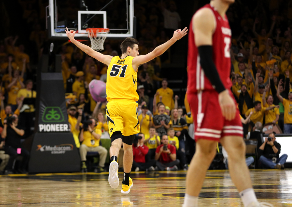 Iowa Hawkeyes forward Nicholas Baer (51) against the Wisconsin Badgers Friday, November 30, 2018 at Carver-Hawkeye Arena. (Brian Ray/hawkeyesports.com)