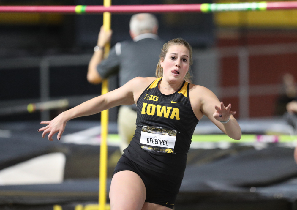 Iowa's Kelli DeGeorge competes in the high jump during the 2019 Larry Wieczorek Invitational  Friday, January 18, 2019 at the Hawkeye Tennis and Recreation Center. (Brian Ray/hawkeyesports.com)