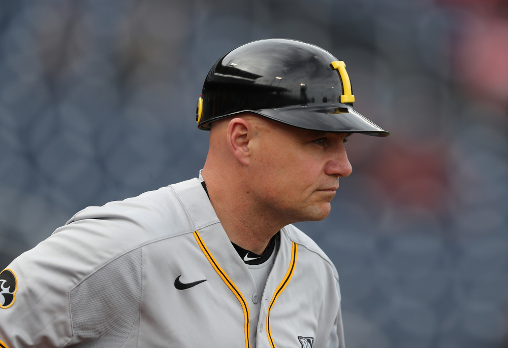 Assistant coach Robin Lund against the Indiana Hoosiers in the first round of the Big Ten Baseball Tournament Wednesday, May 22, 2019 at TD Ameritrade Park in Omaha, Neb. (Brian Ray/hawkeyesports.com)