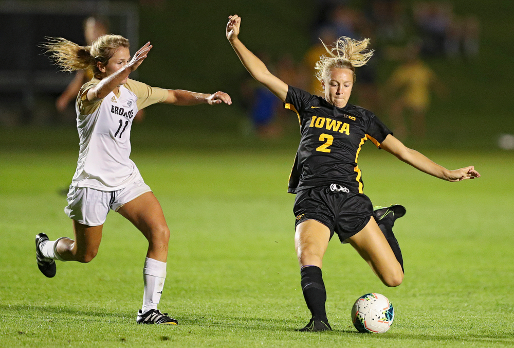 Iowa midfielder Hailey Rydberg (2) lines up a shot during the second half of their match against Western Michigan at the Iowa Soccer Complex in Iowa City on Thursday, Aug 22, 2019. (Stephen Mally/hawkeyesports.com)