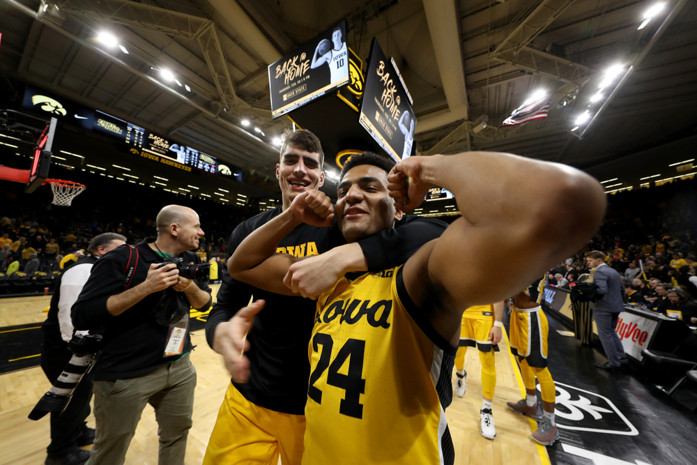 Iowa Hawkeyes forward Luka Garza (55) and Nicolas Hobbs against the Nebraska Cornhuskers Saturday, February 8, 2020 at Carver-Hawkeye Arena. (Brian Ray/hawkeyesports.com)