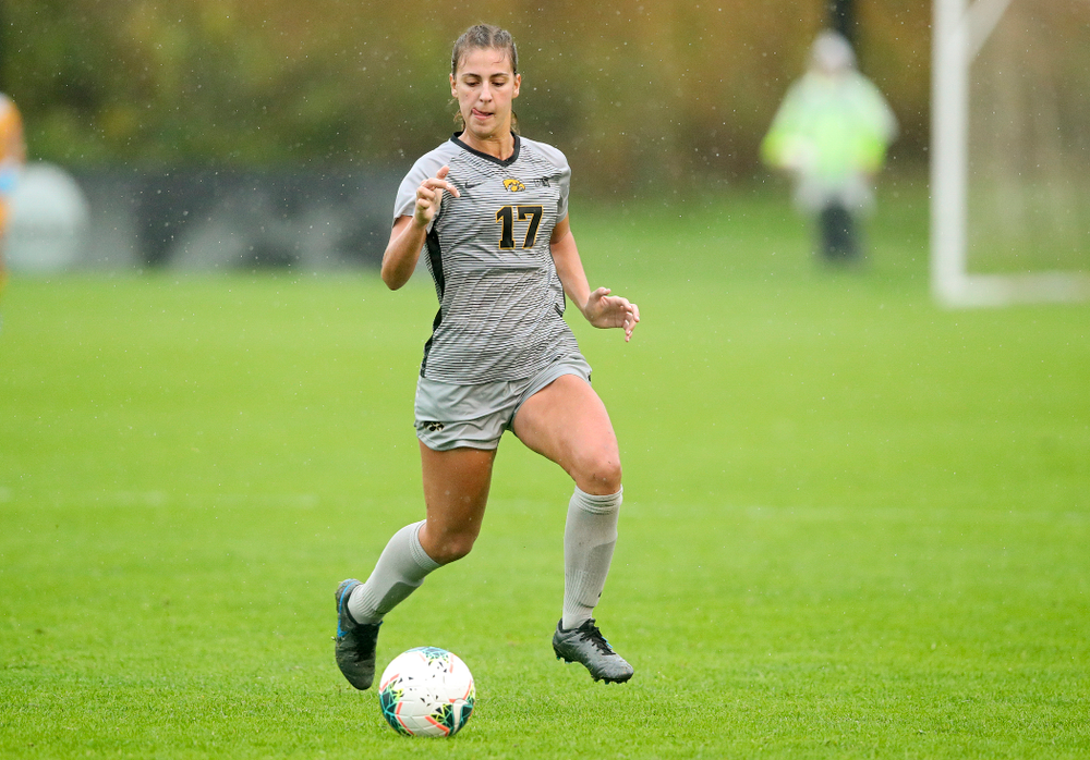 Iowa defender Hannah Drkulec (17) moves with the ball during the second half of their match at the Iowa Soccer Complex in Iowa City on Sunday, Sep 29, 2019. (Stephen Mally/hawkeyesports.com)