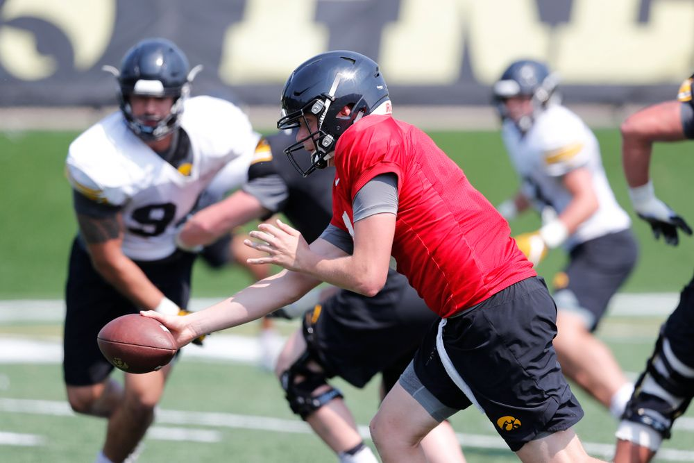 Iowa Hawkeyes quarterback Spencer Petras (7) during practice No. 7 of fall camp Friday, August 10, 2018 at the Kenyon Football Practice Facility. (Brian Ray/hawkeyesports.com)