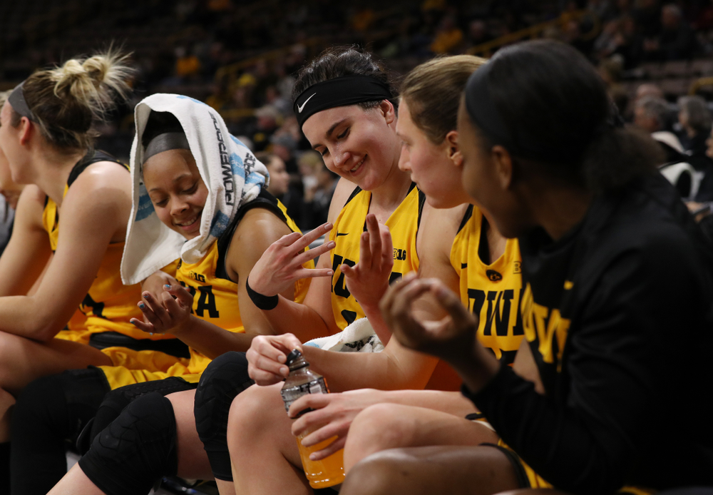 Iowa Hawkeyes guard Tania Davis (11) and forward Megan Gustafson (10) against the Michigan State Spartans Thursday, February 7, 2019 at Carver-Hawkeye Arena. (Brian Ray/hawkeyesports.com)