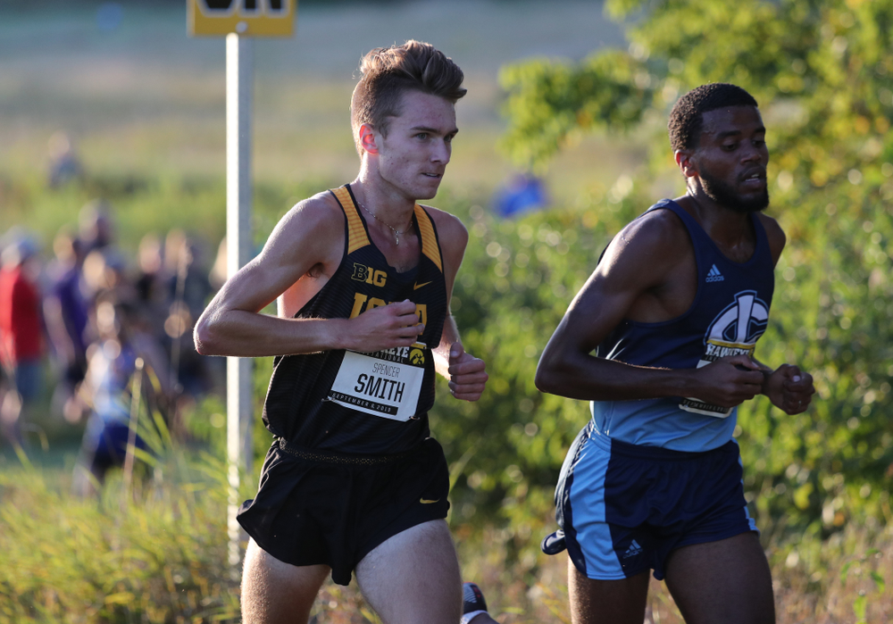 IowaÕs Spencer Smith runs in the 2019 Hawkeye Invitational Friday, September 6, 2019 at the Ashton Cross Country Course. (Brian Ray/hawkeyesports.com)