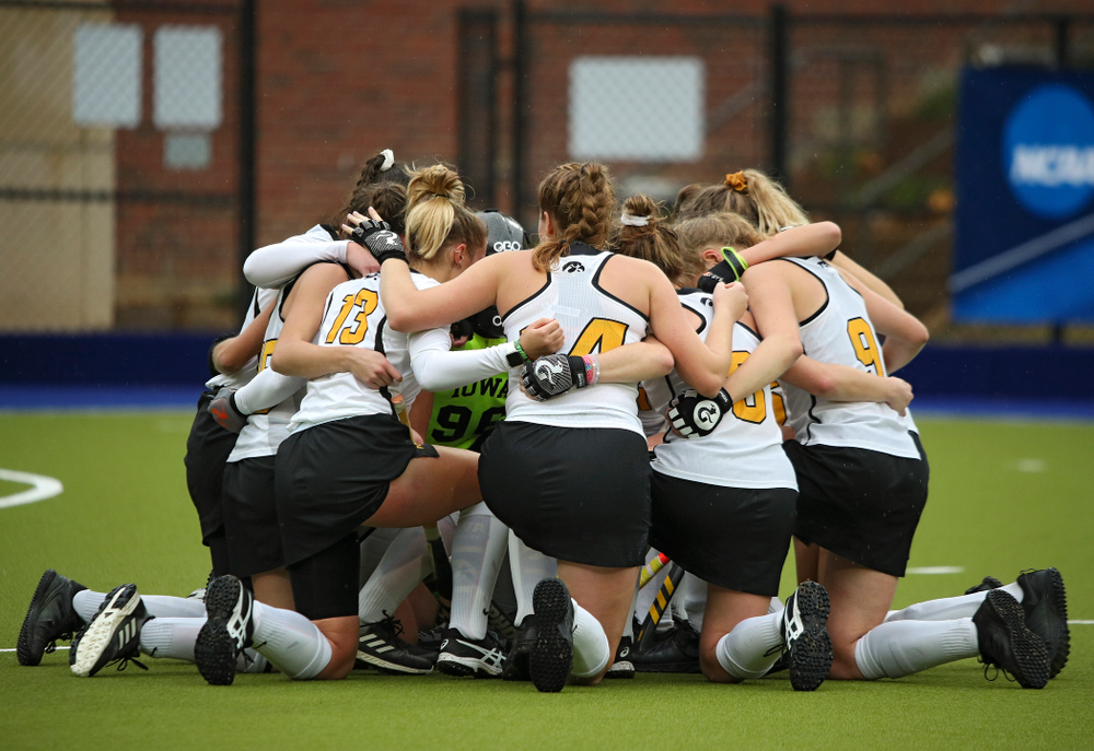 The Hawkeyes huddle before the start of the third quarter of their NCAA Tournament First Round match against Duke at Karen Shelton Stadium in Chapel Hill, N.C. on Friday, Nov 15, 2019. (Stephen Mally/hawkeyesports.com)