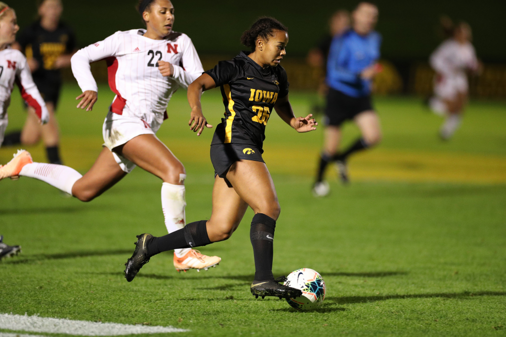 Iowa Hawkeyes midfielder/forward Melina Hegelheimer (26) against the Nebraska Cornhuskers Thursday, October 3, 2019 at the Iowa Soccer Complex. (Brian Ray/hawkeyesports.com)