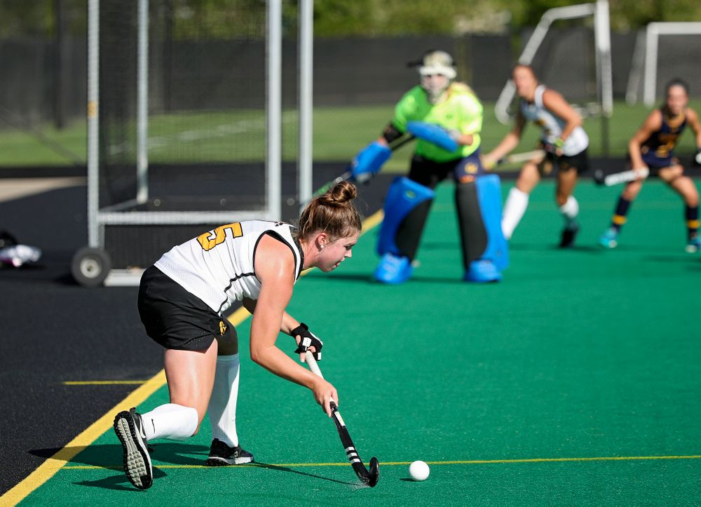 Iowa's Meghan Conroy (5) lines up a shot during the fourth quarter of their game at Grant Field in Iowa City on Friday, Sep 13, 2019. (Stephen Mally/hawkeyesports.com)