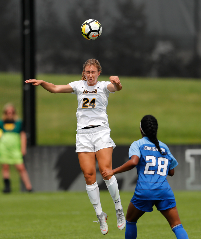 Iowa Hawkeyes Sara Wheaton (24) against the Creighton Bluejays  Sunday, August 19, 2018 at the Iowa Soccer Complex. (Brian Ray/hawkeyesports.com)