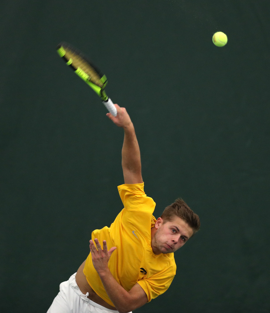 Oliver Okonkwo and Will Davies against Utah Sunday, February 10, 2019 at the Hawkeye Tennis and Recreation Complex. (Brian Ray/hawkeyesports.com)