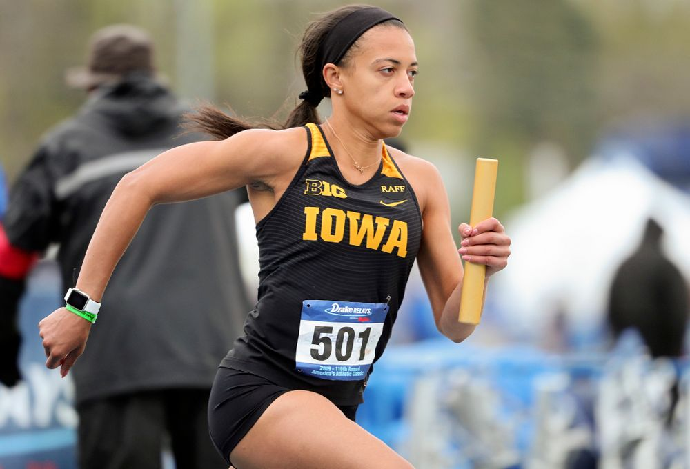 Iowa's Alexis Gay runs the women's distance medley relay event during the third day of the Drake Relays at Drake Stadium in Des Moines on Saturday, Apr. 27, 2019. (Stephen Mally/hawkeyesports.com)
