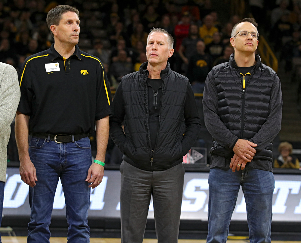 Former Iowa Men's Basketball Lettermen are honored during halftime of the game at Carver-Hawkeye Arena in Iowa City on Sunday, December 29, 2019. (Stephen Mally/hawkeyesports.com)