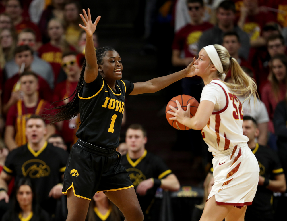 Iowa Hawkeyes guard Tomi Taiwo (1) against the Iowa State Cyclones Wednesday, December 11, 2019 at Hilton Coliseum in Ames, Iowa(Brian Ray/hawkeyesports.com)