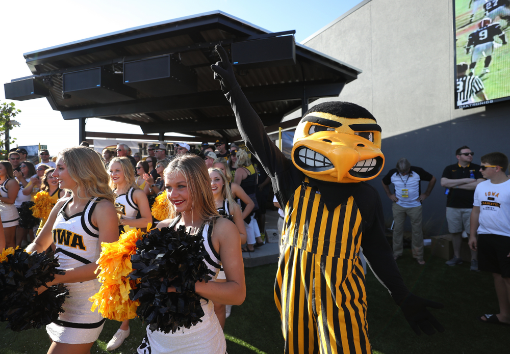 Herky The Hawk during the Hawkeye Huddle Monday, December 31, 2018 at Sparkman Wharf in Tampa, FL. (Brian Ray/hawkeyesports.com)