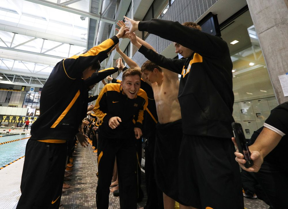Michal Brzus is introduced during senior day before a double dual against Wisconsin and Northwestern Saturday, January 19, 2019 at the Campus Recreation and Wellness Center. (Brian Ray/hawkeyesports.com)
