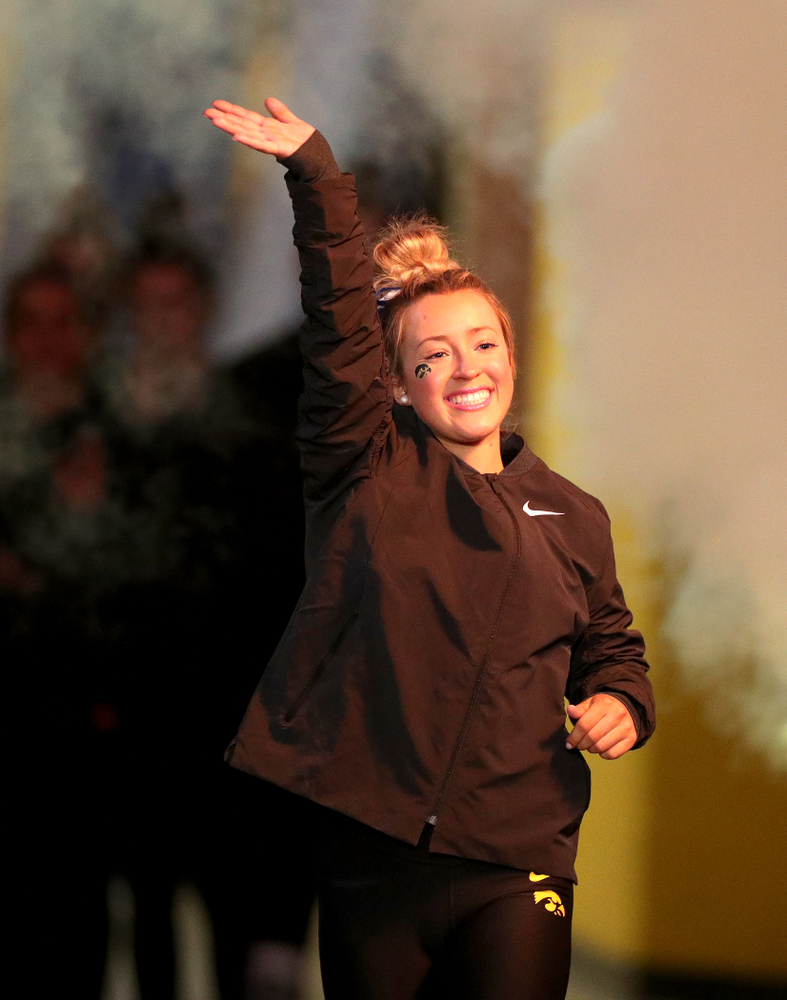 Iowa's Maddie Kampschroeder is introduced before their meet against Michigan State Saturday, February 1, 2020 at Carver-Hawkeye Arena. (Brian Ray/hawkeyesports.com)