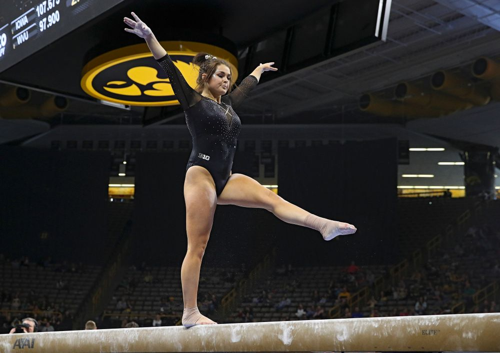 Iowa's Erin Castle competes on the beam during their meet at Carver-Hawkeye Arena in Iowa City on Sunday, March 8, 2020. (Stephen Mally/hawkeyesports.com)